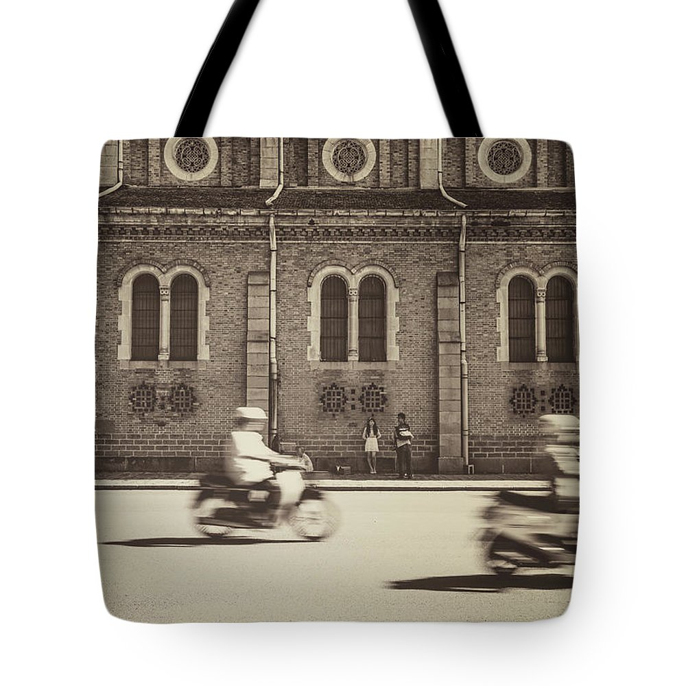 Ho Chi Minh City Tote Bag featuring the photograph Saigon Old Corner by Jethuynh