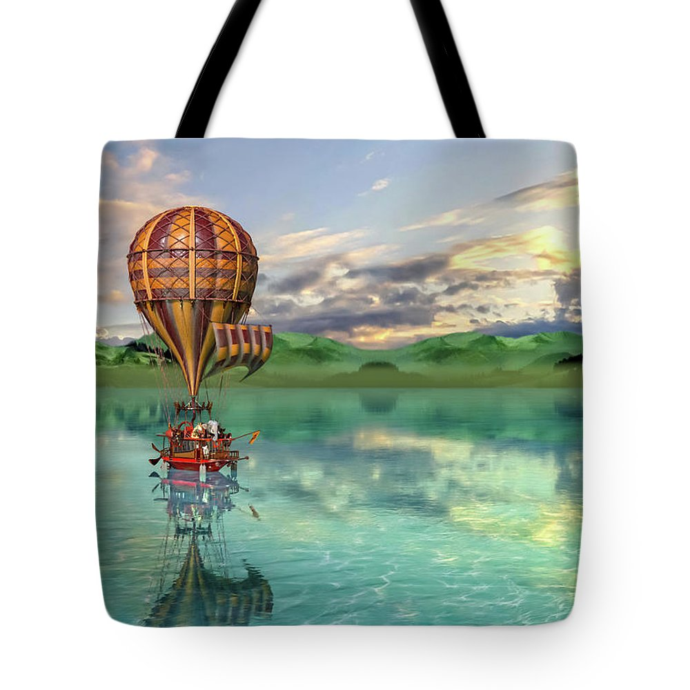 Hot Tote Bag featuring the digital art Sailing Away Daydream Steampunk Custom by Betsy Knapp