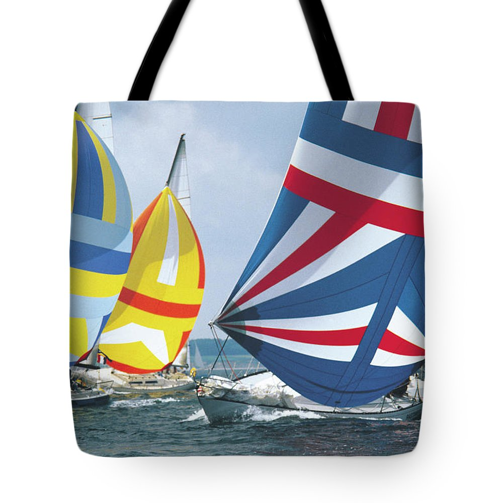 Wind Tote Bag featuring the photograph Sailing Race by John Foxx