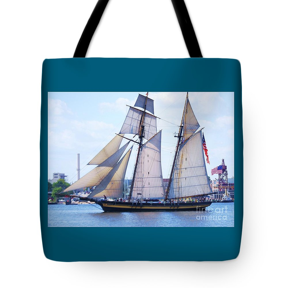 Sailboat Art Pride Of Baltimore Clipper Ship Stars And Stripes Nautical Scene Iconic Vessel Home Decor Outdoors Den Decor Collectible Serenity Old Glory Maritime Vision Wood Print Metal Frame Canvas Print Poster Print Available On Greeting Cards Tote Bags Pouches Shower Curtains Phone Cases Mugs Weekender Tote Bags T Shirts Duvet Covers Spiral Notebooks And Throw Pillows Tote Bag featuring the photograph Sailing With Pride by Poet's Eye