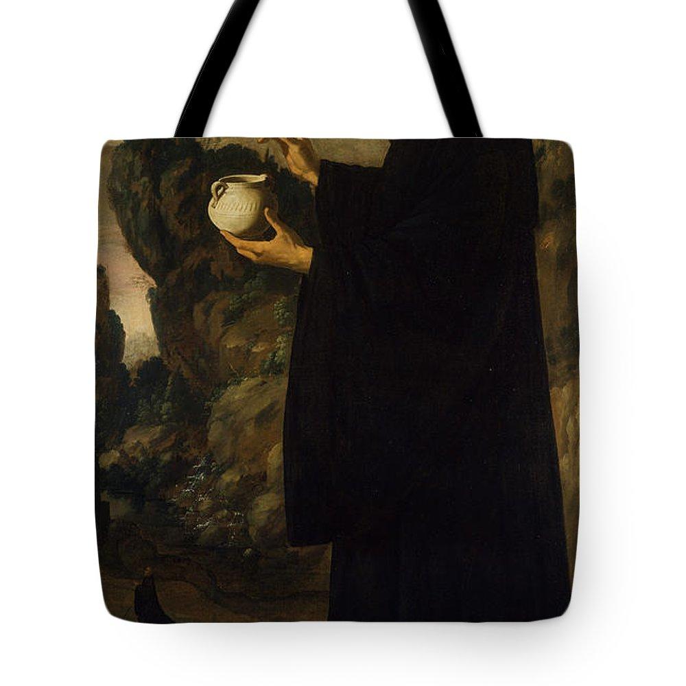 Francisco De Zurbarán Tote Bag featuring the painting Saint Benedict by Francisco de Zurbar n