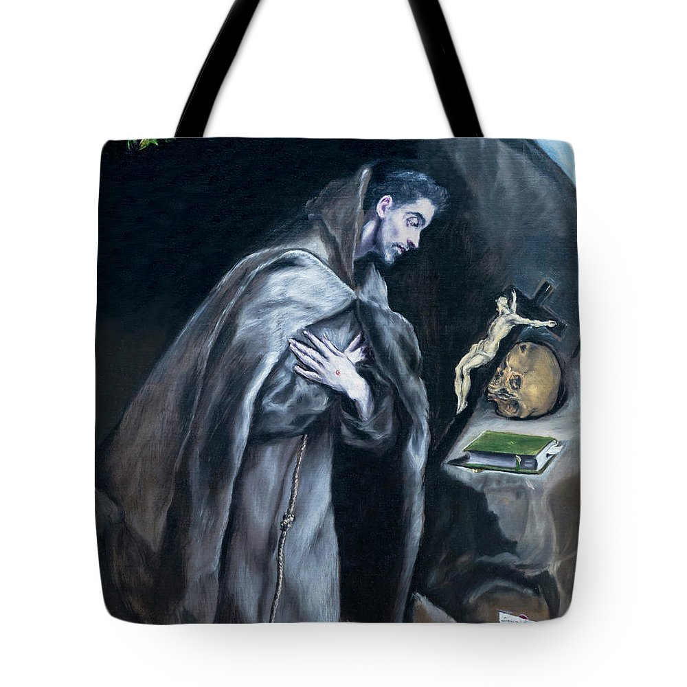 1595-1600 Tote Bag featuring the photograph Saint Francis Kneeling In Meditation by Peter Barritt