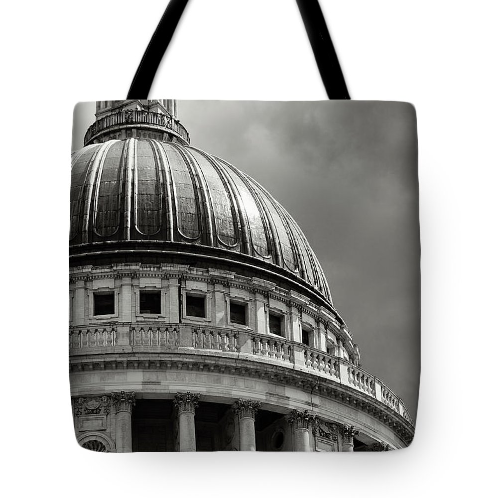 English Culture Tote Bag featuring the photograph Saint Pauls Cathedral Dramatic Sky by Peskymonkey