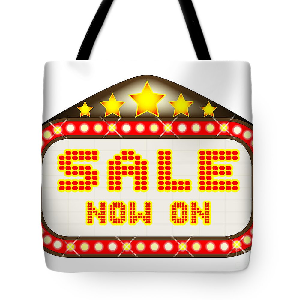 Sale Tote Bag featuring the digital art Sale Theatre Marquee by Bigalbaloo Stock