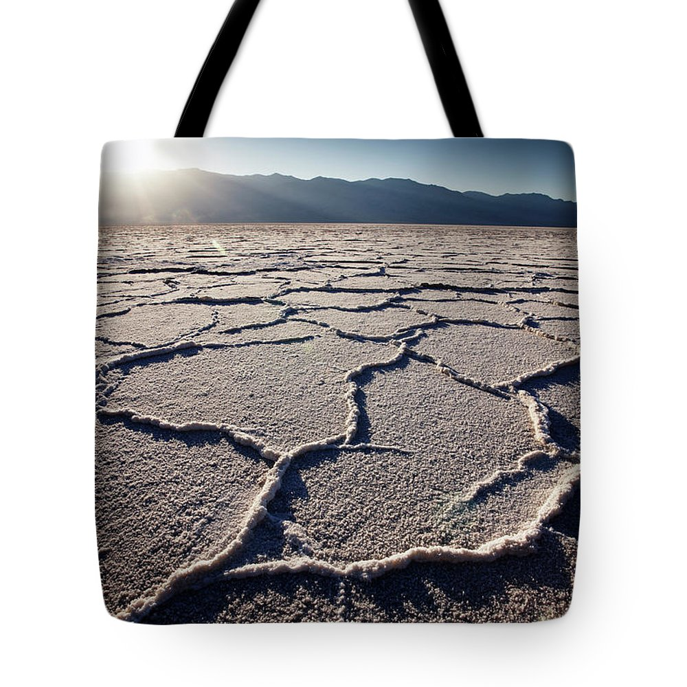 California Tote Bag featuring the photograph Salt Formations At Badwater Salt Flats by Gary Yeowell