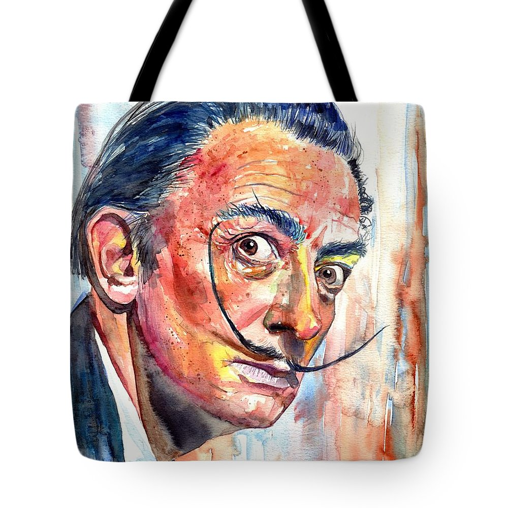 Salvador Tote Bag featuring the painting Salvador Dali Portrait by Suzann Sines