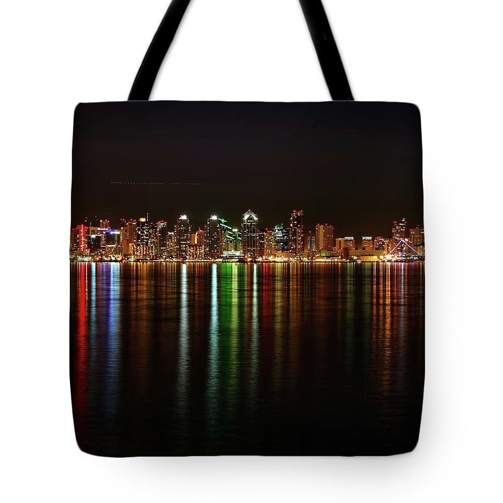 California Tote Bag featuring the photograph San Diego Skyline From Harbor Island by David Toussaint