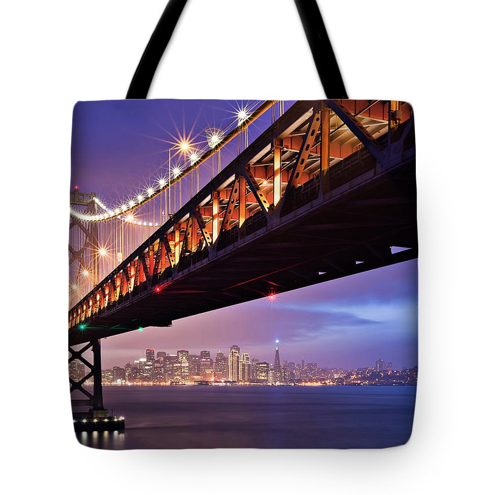 Tranquility Tote Bag featuring the photograph San Francisco Bay Bridge by Photo By Mike Shaw