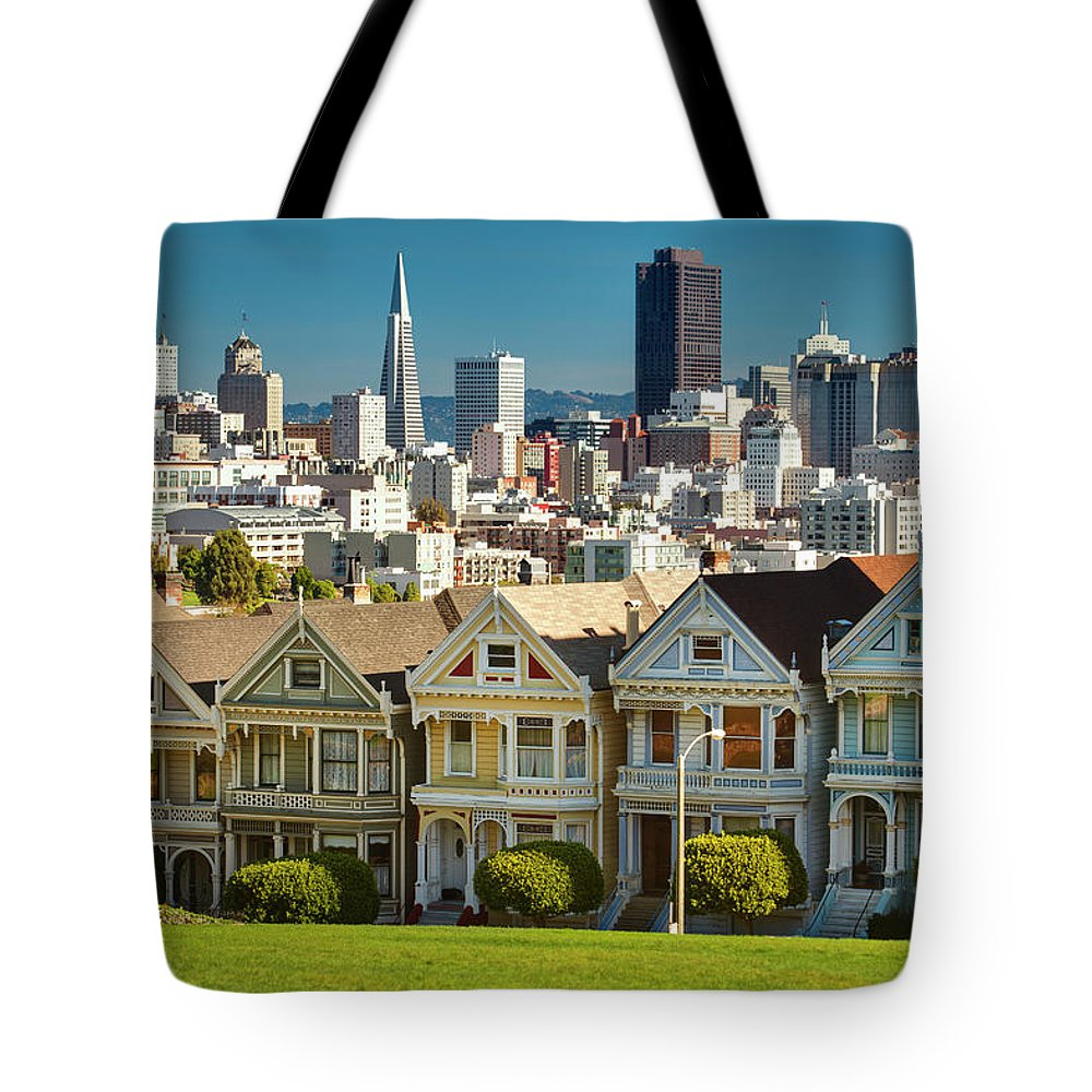 San Francisco Tote Bag featuring the photograph San Francisco Postcard Row Skyline by Pgiam