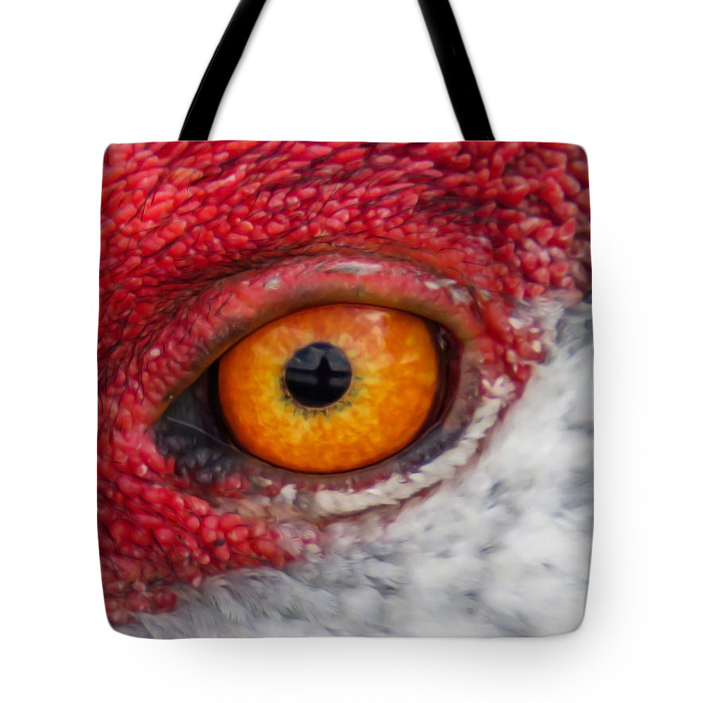 Eyes Tote Bag featuring the photograph Sandhill Crane Eye by Zina Stromberg