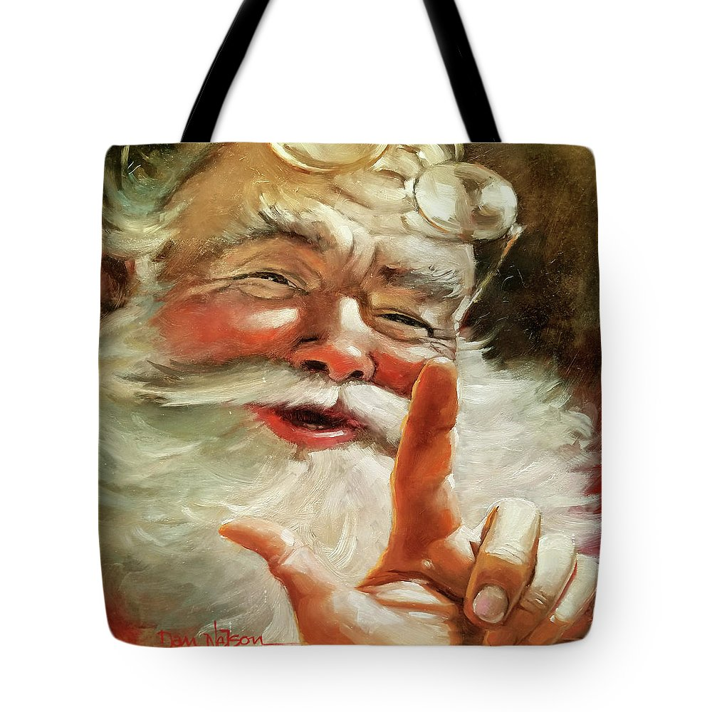 Santa. Santa Portrait. Santa Oil. Santa Portrait Oil. Santa Painting. Santa Portrait Painting. Santa Oil Painting. Santa Portrait Oil Painting. Tote Bag featuring the painting Santa 2017 by Dan Nelson