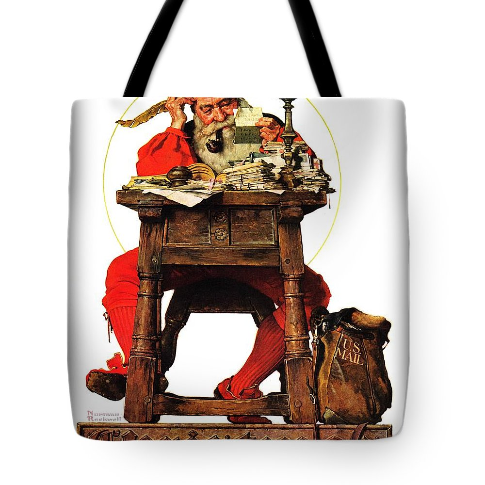 Christmas Tote Bag featuring the drawing Santa At His Desk by Norman Rockwell