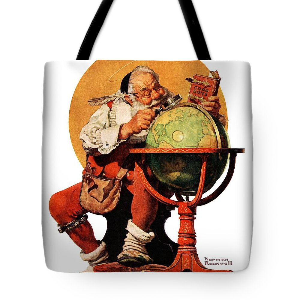 Globes Tote Bag featuring the drawing Santa At The Globe by Norman Rockwell