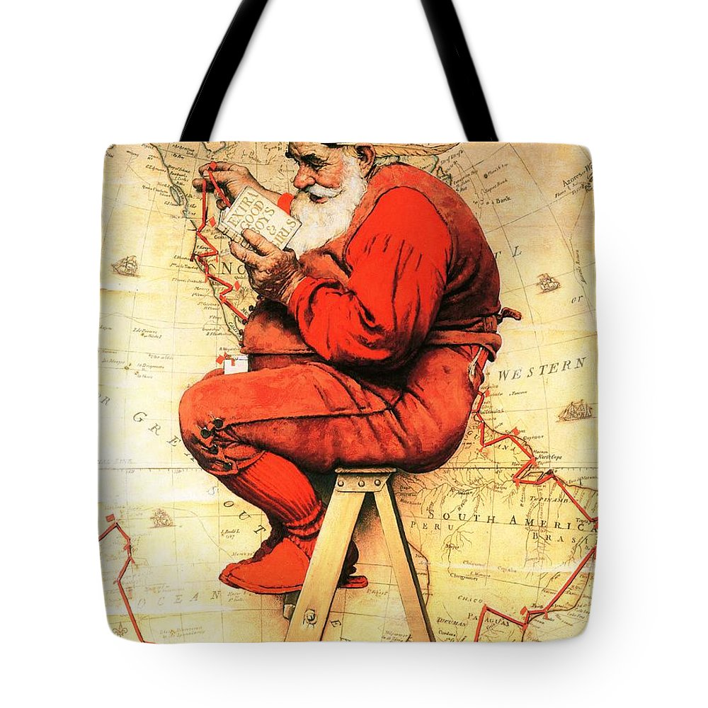 Christmas Tote Bag featuring the drawing Santa At The Map by Norman Rockwell