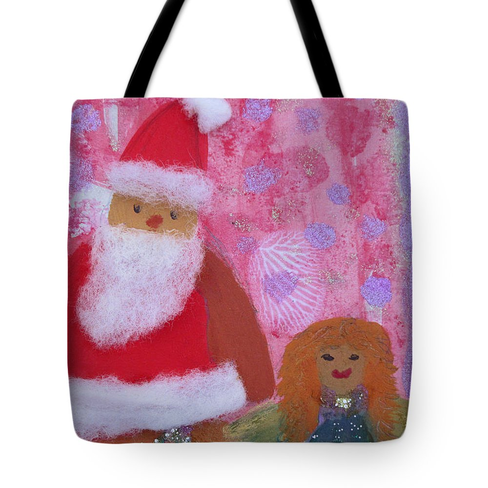 Santa Claus Tote Bag featuring the painting Santa Claus And Guardian Angel - Pintoresco Art By Sylvia by Sylvia Pintoresco