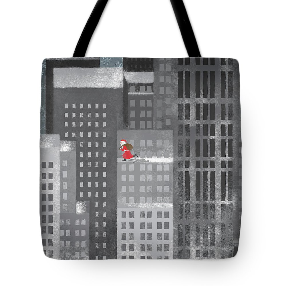 Shadow Tote Bag featuring the digital art Santa Clause Running On A Skyscraper by Jutta Kuss