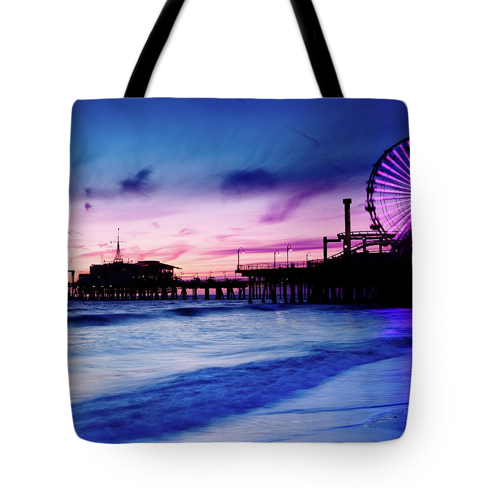 Commercial Dock Tote Bag featuring the photograph Santa Monica Pier With Ferris Wheel by Pawel.gaul