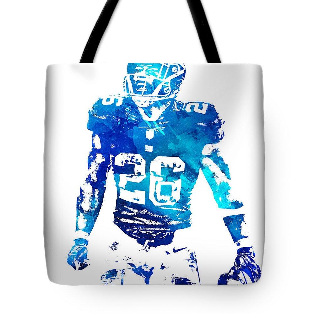 Saquon Barkley Tote Bag featuring the mixed media Saquon Barkley New York Giants Water Color Pixel Art 11 by Joe Hamilton