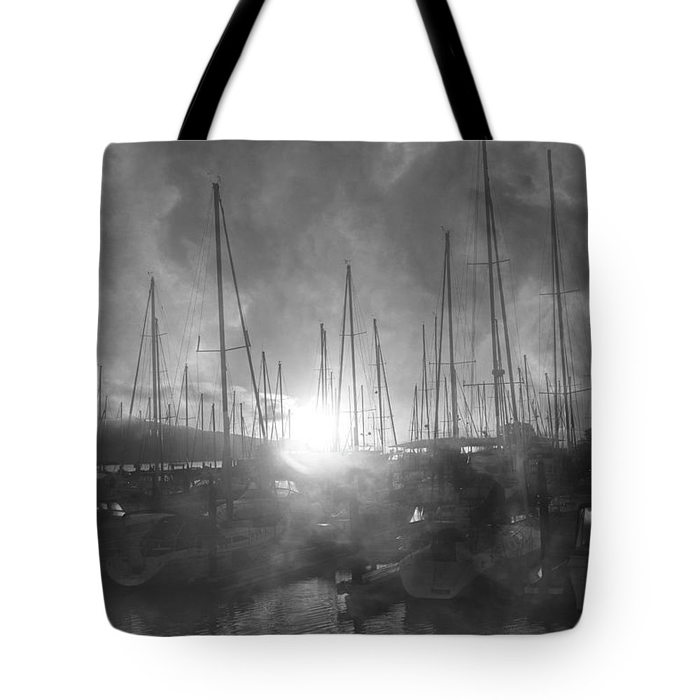Sausalito Tote Bag featuring the photograph Sausalito California Mystical Magical Harbor Sunrise by Betsy Knapp