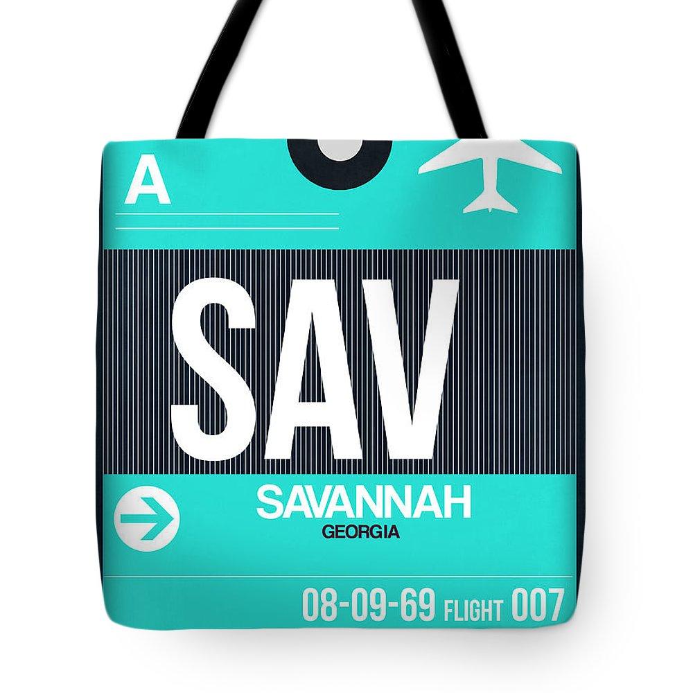 Vacation Tote Bag featuring the digital art Sav Savannah Luggage Tag II by Naxart Studio