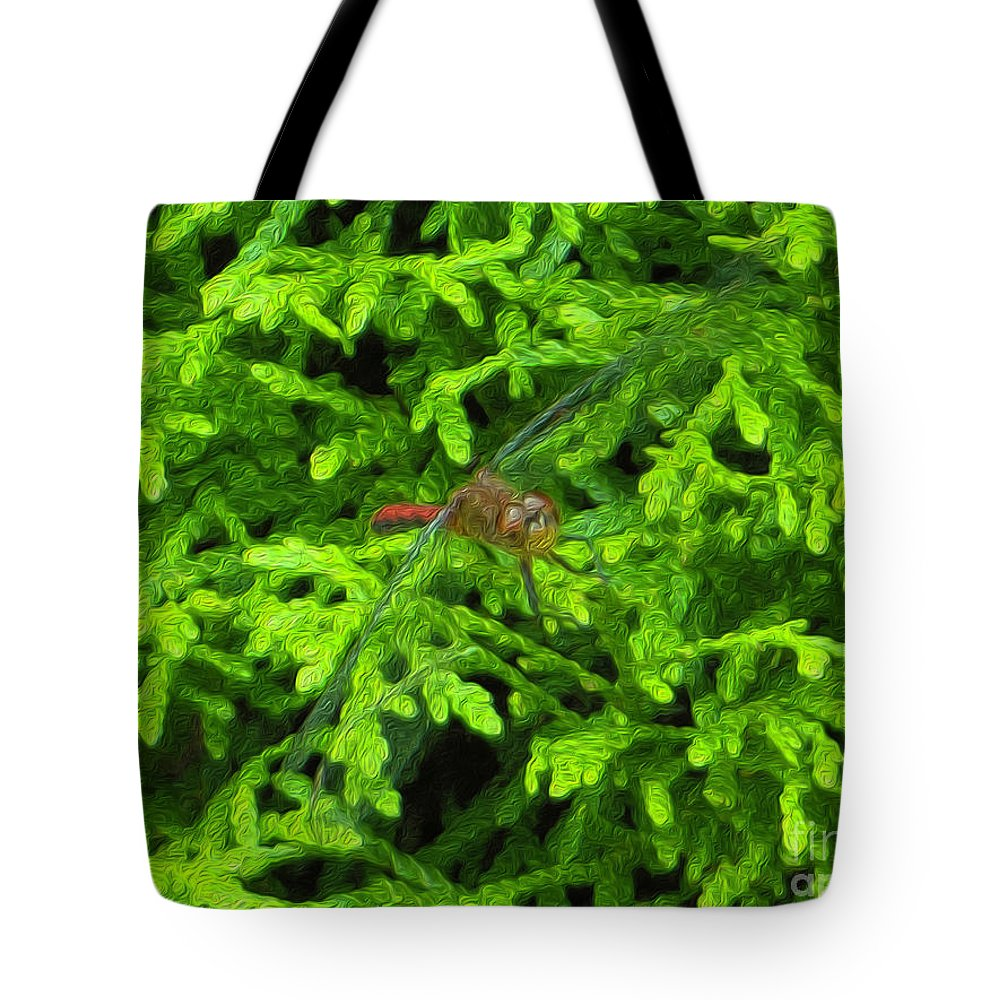 Scarlet Tote Bag featuring the photograph Scarlet Darter Male Dragonfly by Rockin Docks