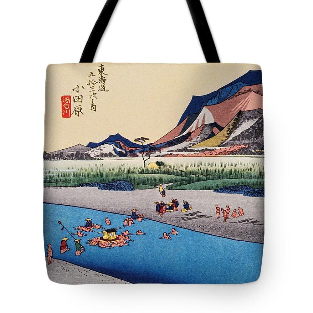 Grass Family Tote Bag featuring the digital art Scenery Of Odawara In Edo Period by Daj