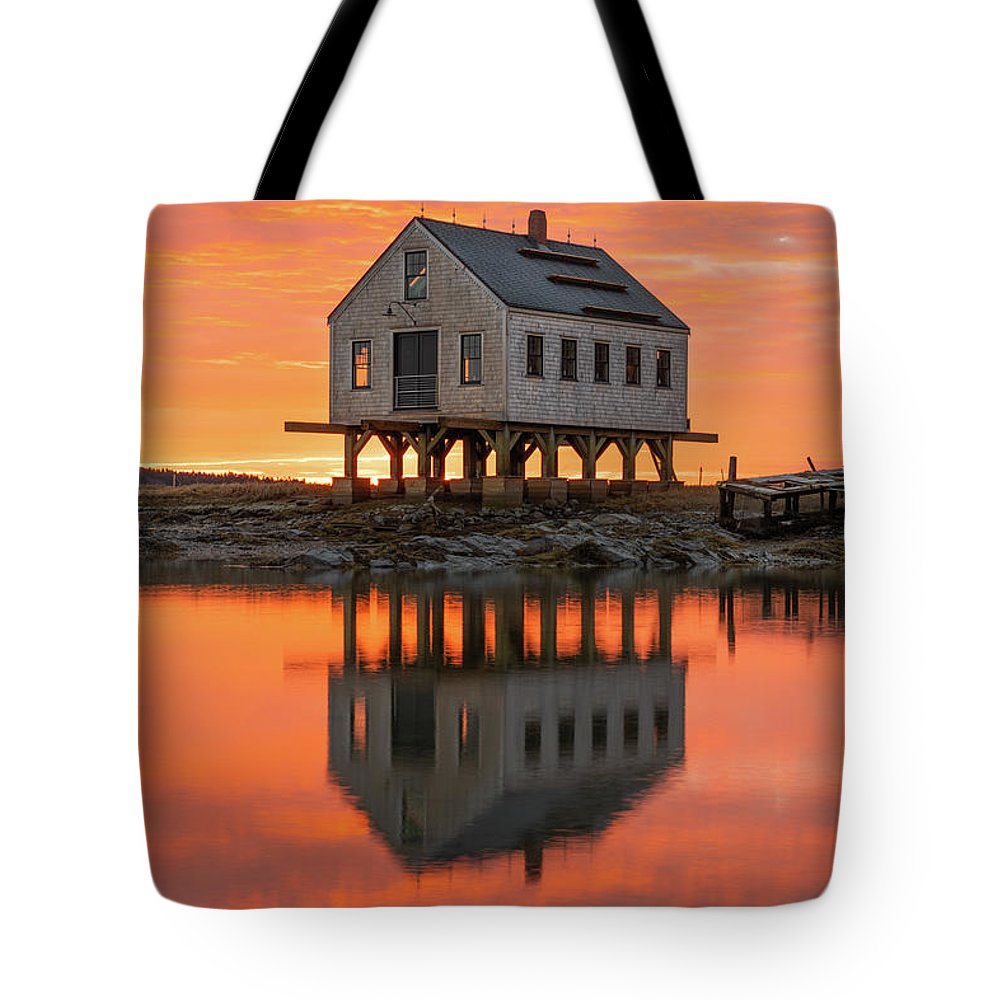Maine Tote Bag featuring the photograph Scorched Symmetry by Jesse MacDonald
