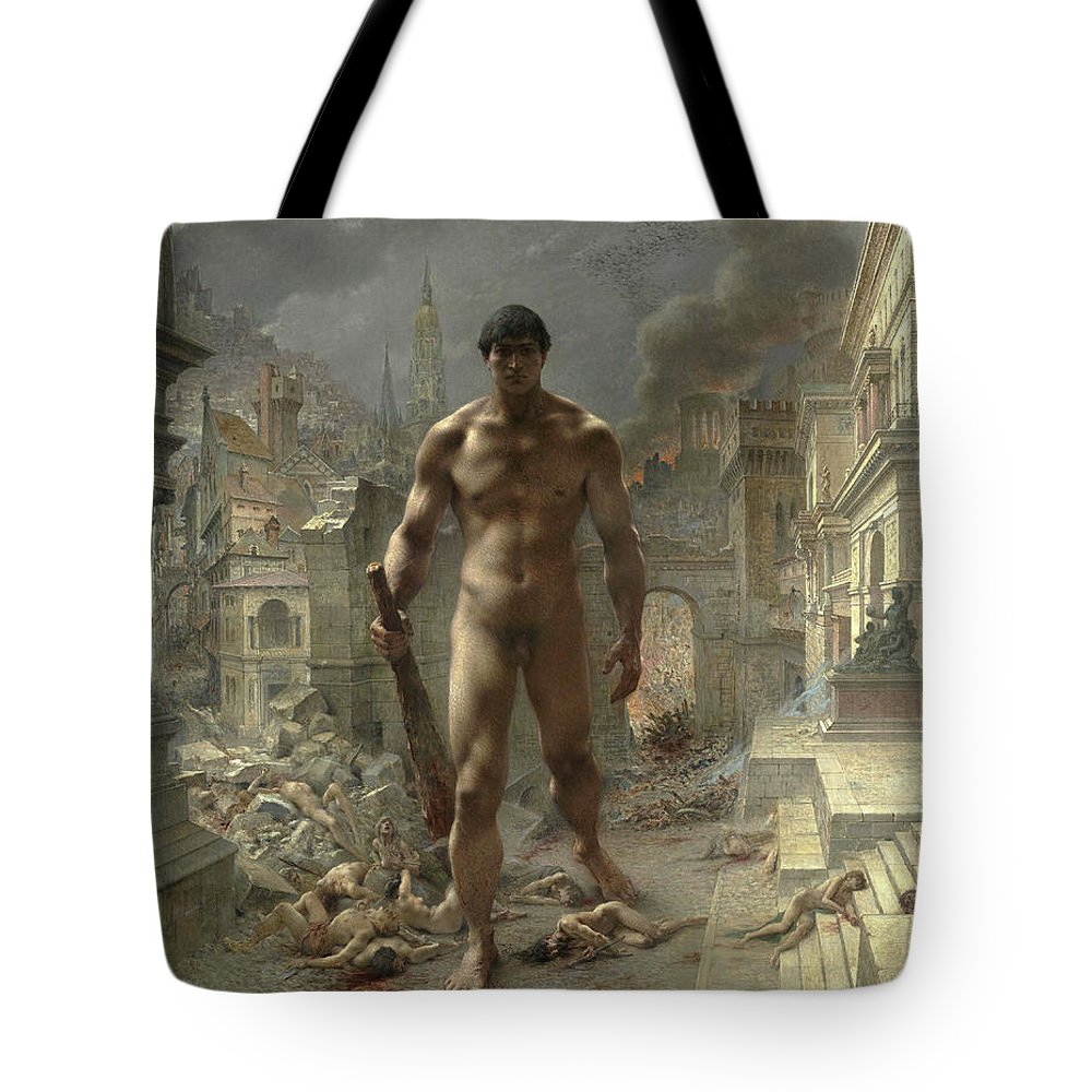 Evils Of War Tote Bag featuring the painting Scourge by Henri-Camille Danger