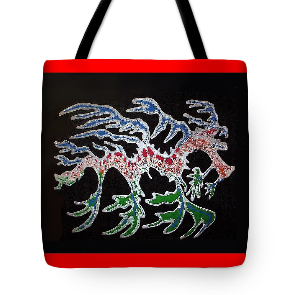 Sea Dragon Tote Bag featuring the painting Sea Dragon by Joan Stratton