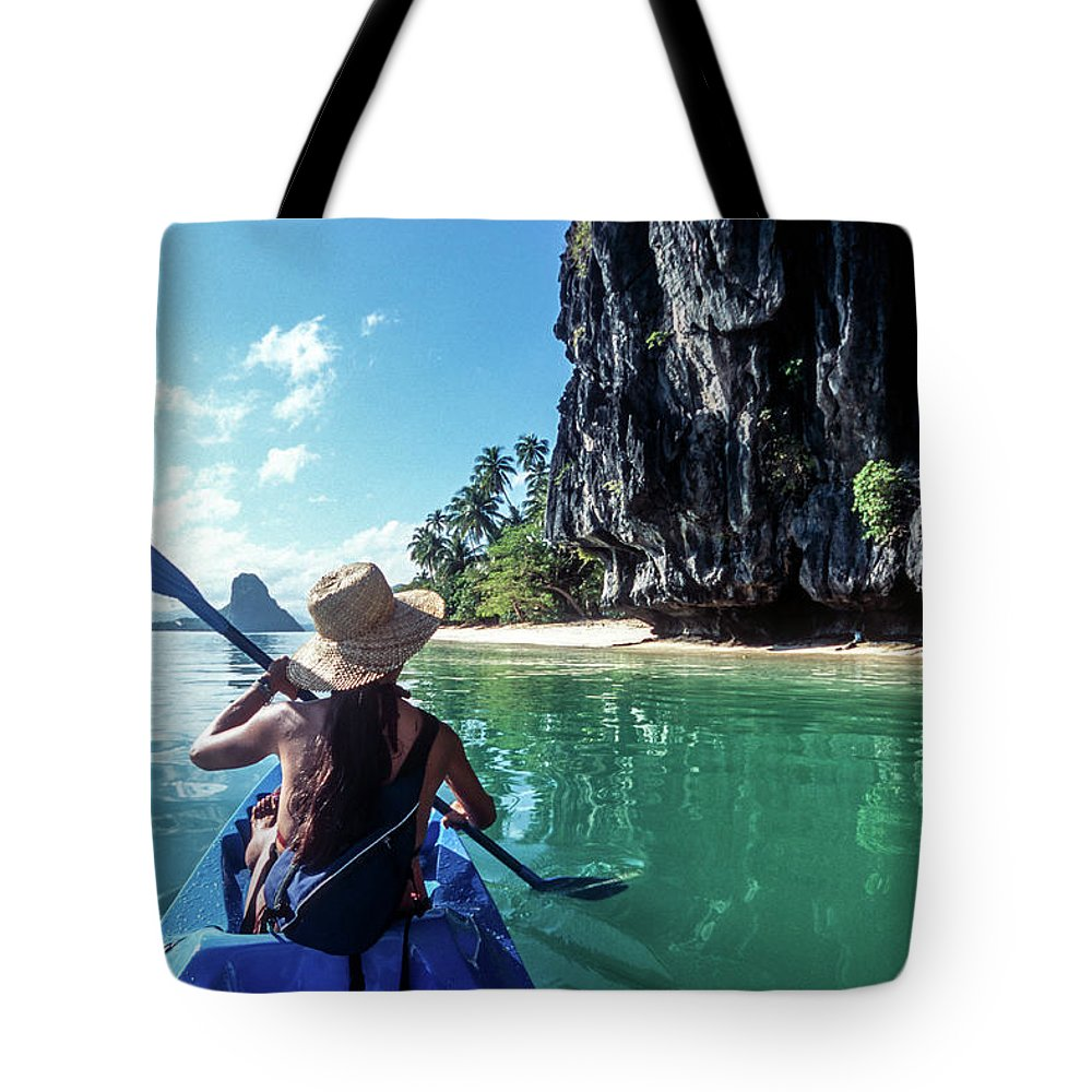 Southeast Asia Tote Bag featuring the photograph Sea Kayaking by John Seaton Callahan