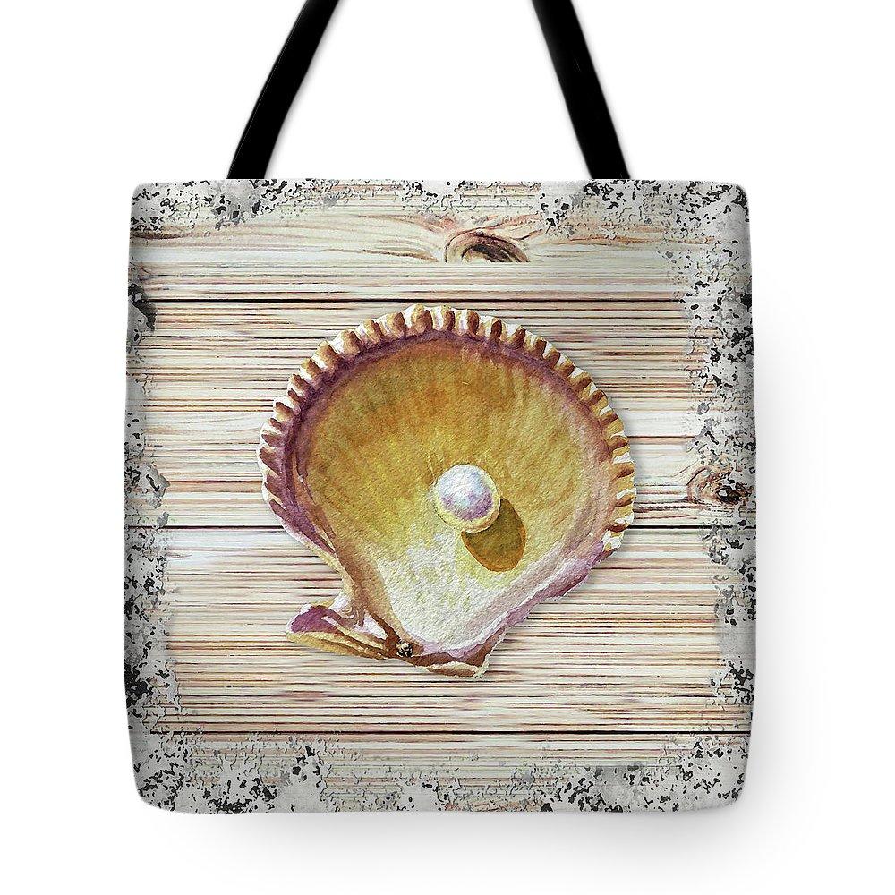 Shell Tote Bag featuring the painting Sea Shell Beach House Rustic Chic Decor IIi by Irina Sztukowski