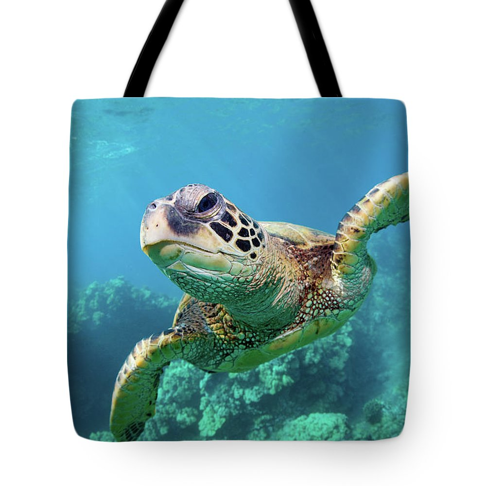 Underwater Tote Bag featuring the photograph Sea Turtle, Hawaii by M Swiet Productions