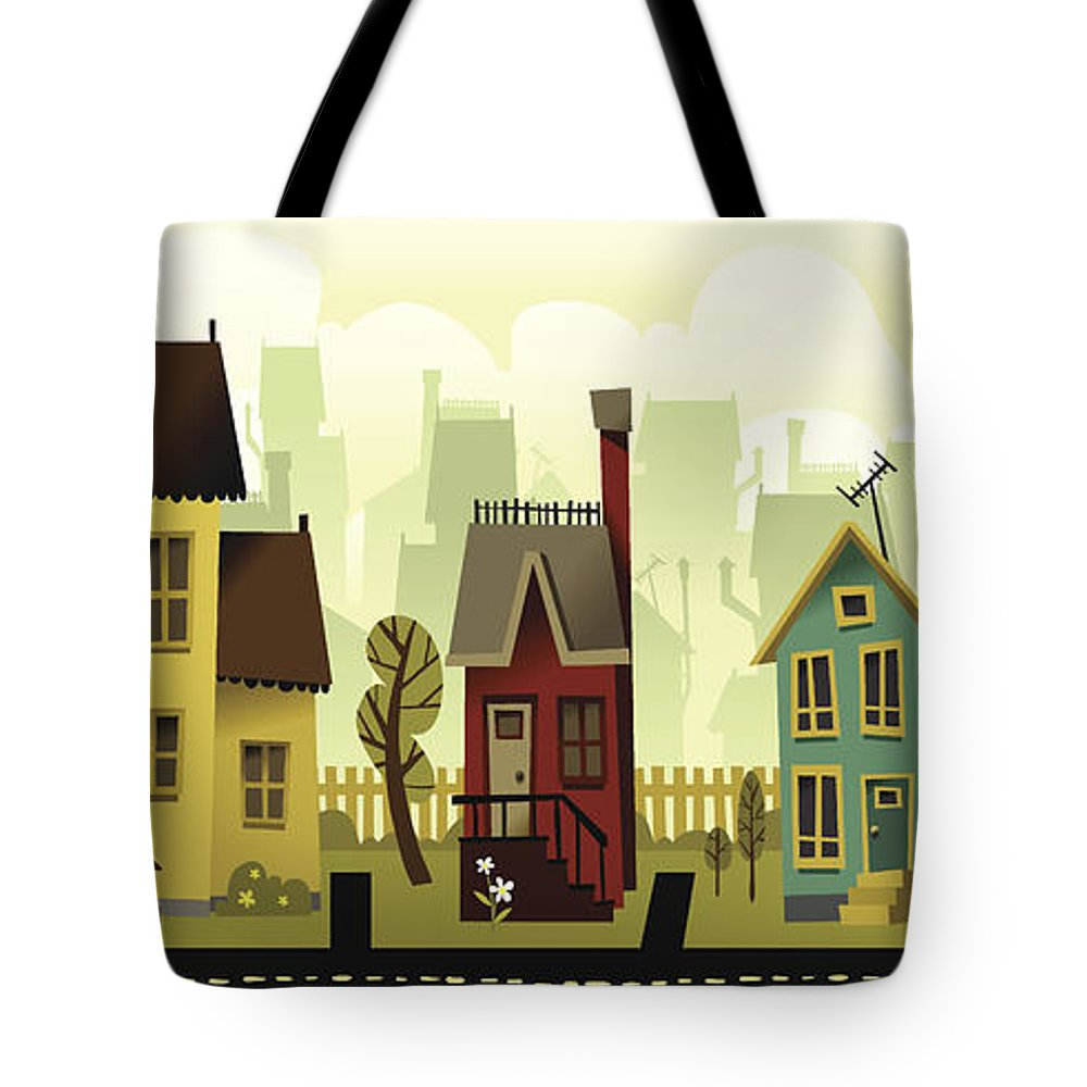 Grass Tote Bag featuring the digital art Seamless Neighborhood by Doodlemachine