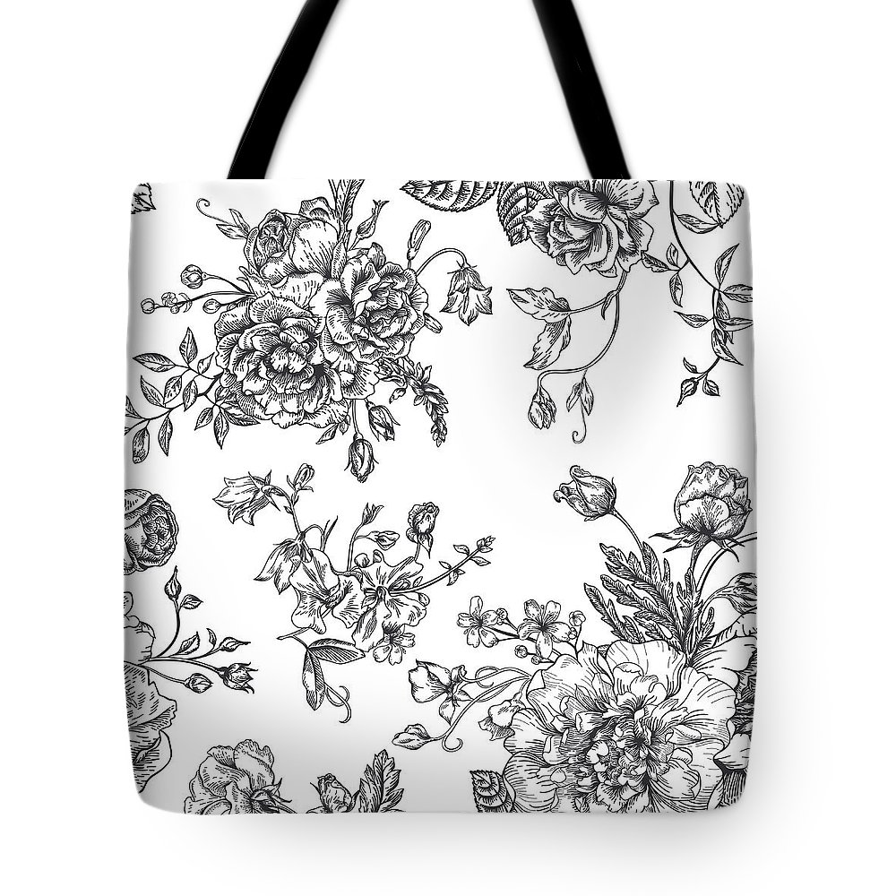 Art Tote Bag featuring the digital art Seamless Pattern With Bouquet Of by Nata slavetskaya