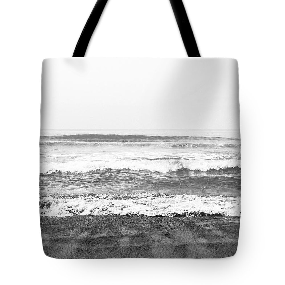 Beach Tote Bag featuring the mixed media Seaside Dream Black And White - Beach Art By Linda Woods by Linda Woods