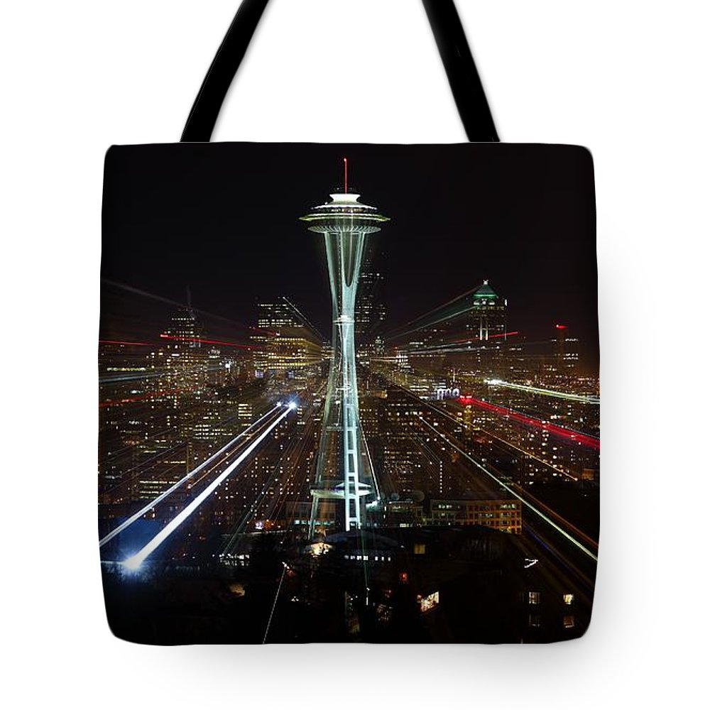 Laser Tote Bag featuring the photograph Seattle Skyline Laser Show by Jonkman Photography