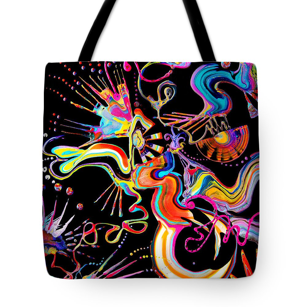 Fluid Etherial Flowing Exciting Vibrant Charming Compelling Fun Colorful Energetic Youthful Tote Bag featuring the painting Secret Fairy Moon by Priscilla Batzell Expressionist Art Studio Gallery