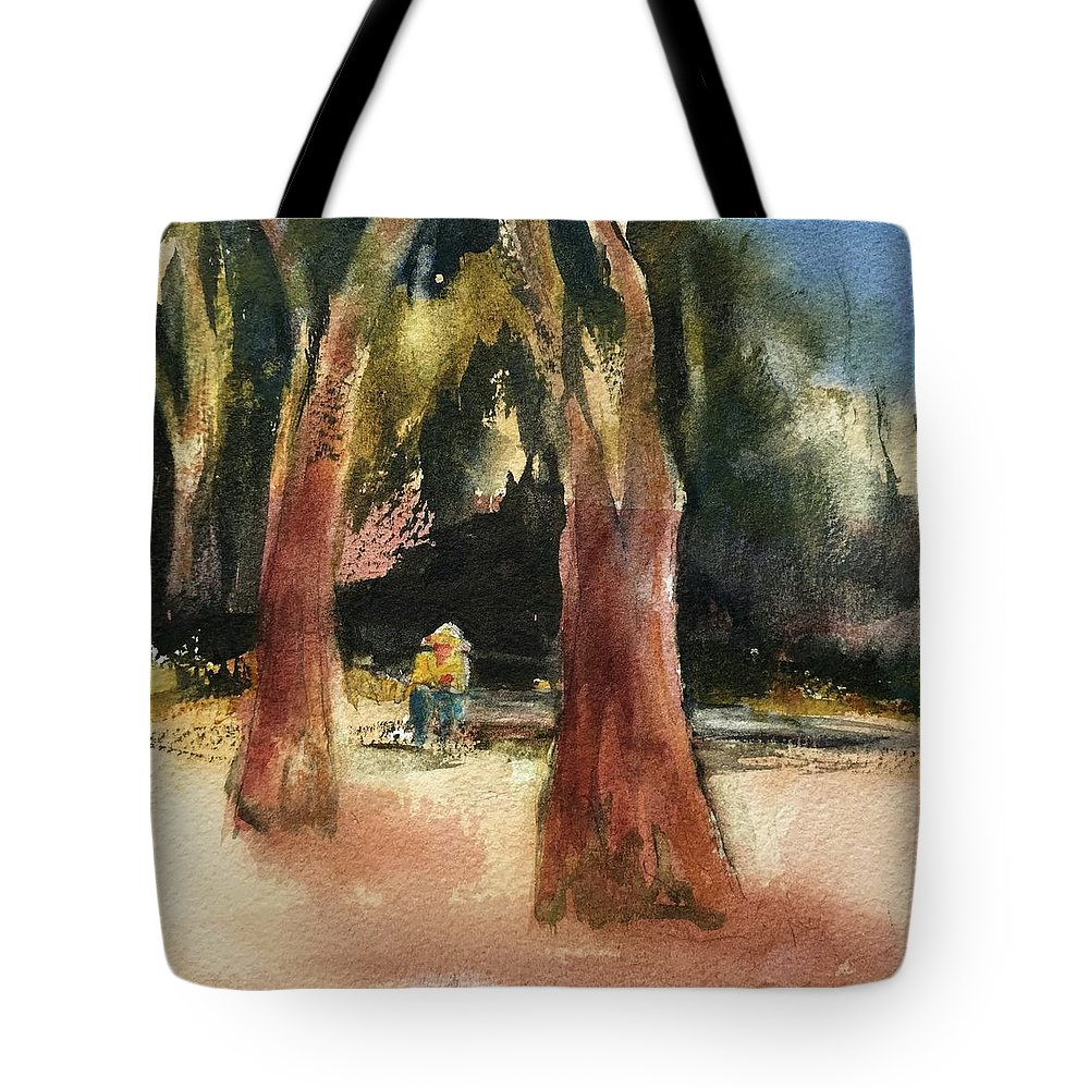 Coffee Break Tote Bag featuring the painting Seeking Shade by Lynne Bolwell