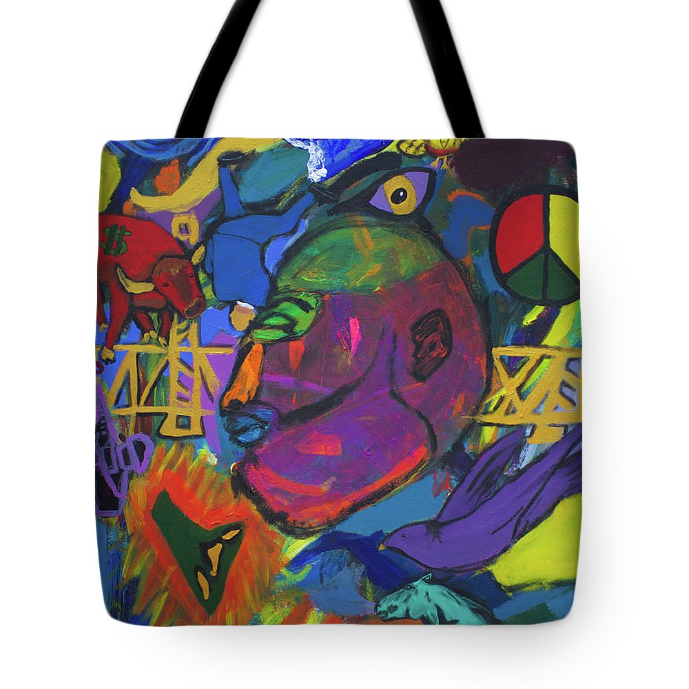 War Tote Bag featuring the painting Seeking The Bridge by Sonye Locksmith