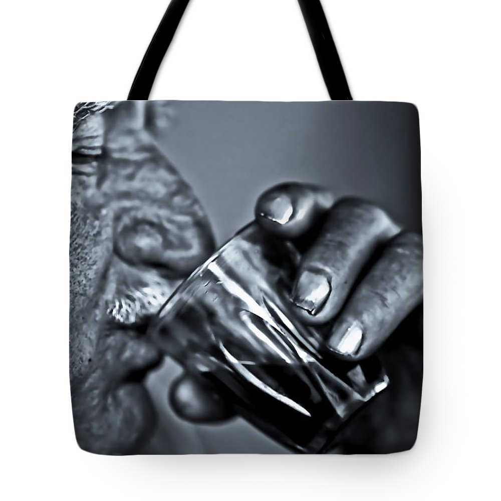 People Tote Bag featuring the photograph Senior Man Drinking Wine by Nasos Zovoilis