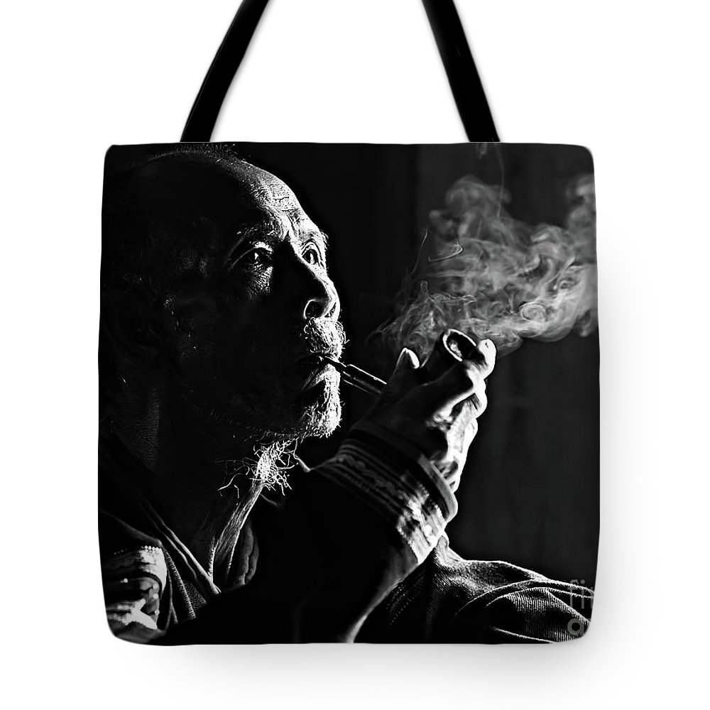 Asian And Indian Ethnicities Tote Bag featuring the photograph Senior Man Smoking Pipe, Vietnam by Tran Anh Linh