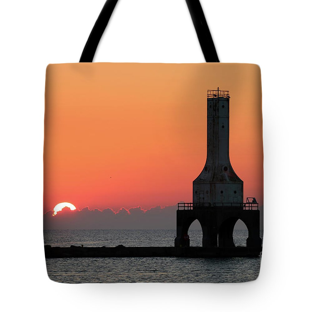 Sunrise Tote Bag featuring the photograph September Sunrise In Port Washington 1 by Eric Curtin