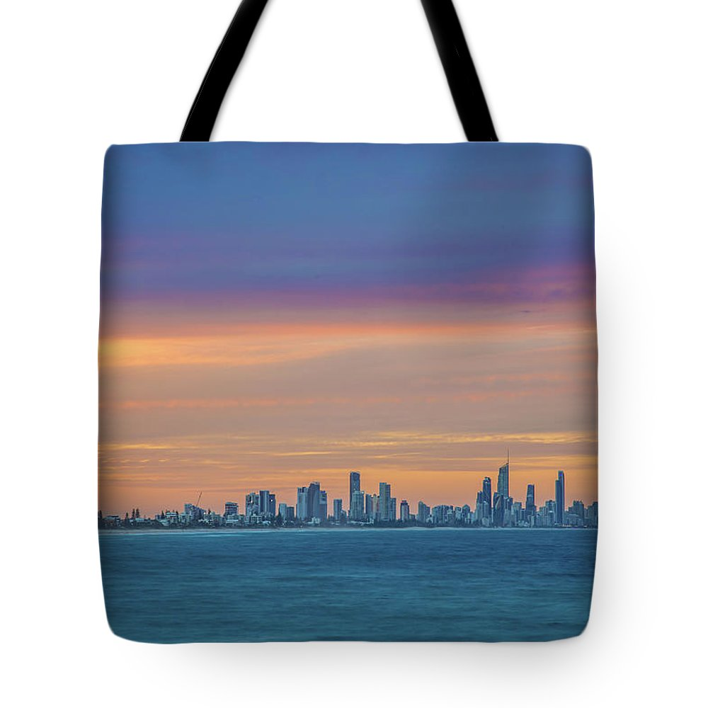 Gold Coast Skyline Tote Bag featuring the photograph Serene And Magical by Az Jackson