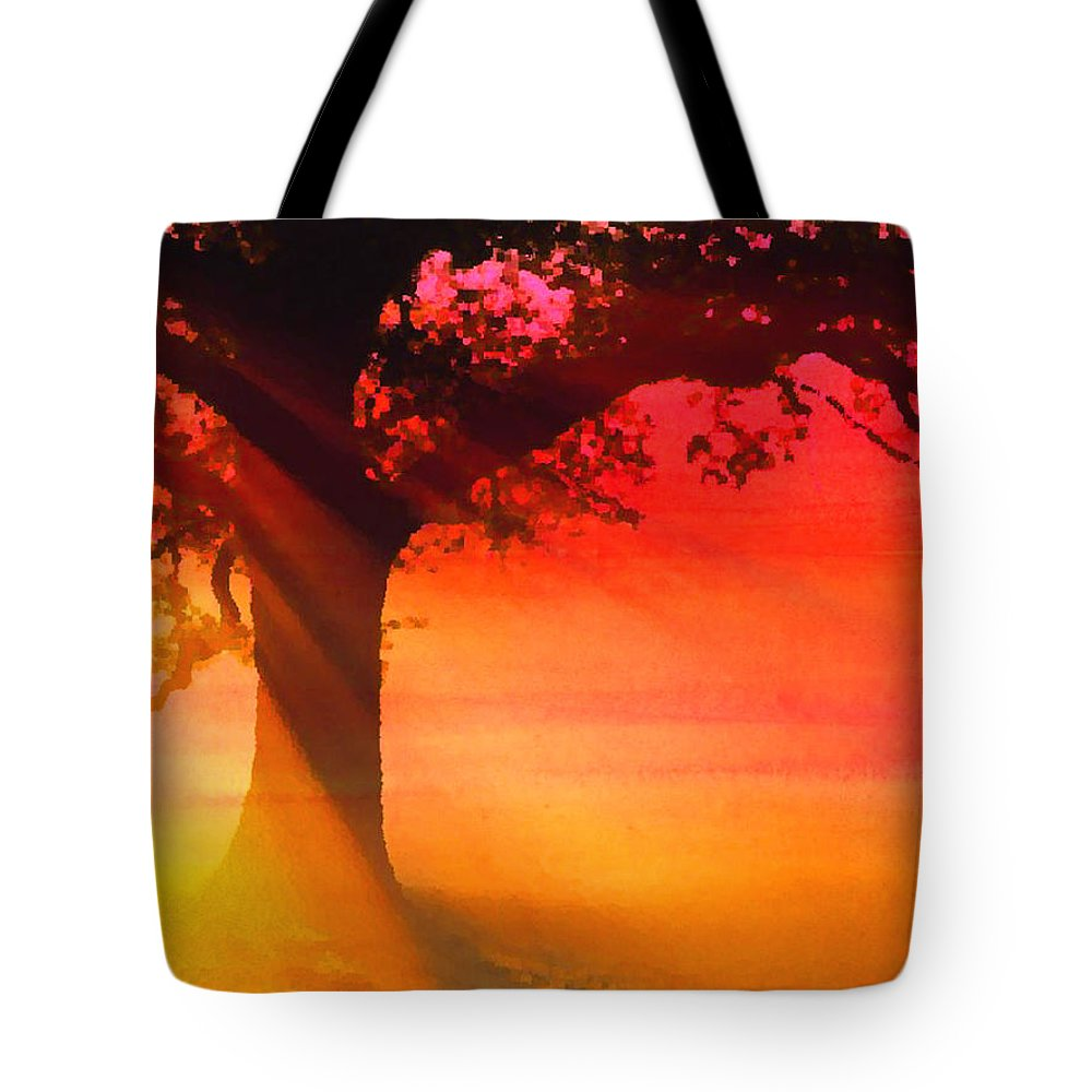 Dawn Tote Bag featuring the mixed media Shade Tree At Dawn by Jas Stem