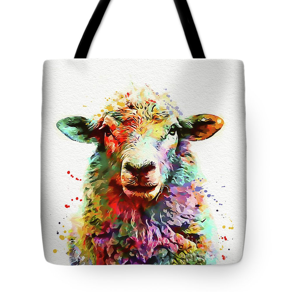 Sheep Tote Bag featuring the painting Sheep Portrait by Nikolay Radkov