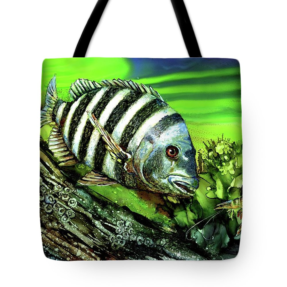 Sheep Head Tote Bag featuring the painting Sheepshead Lunch by Linda Eader