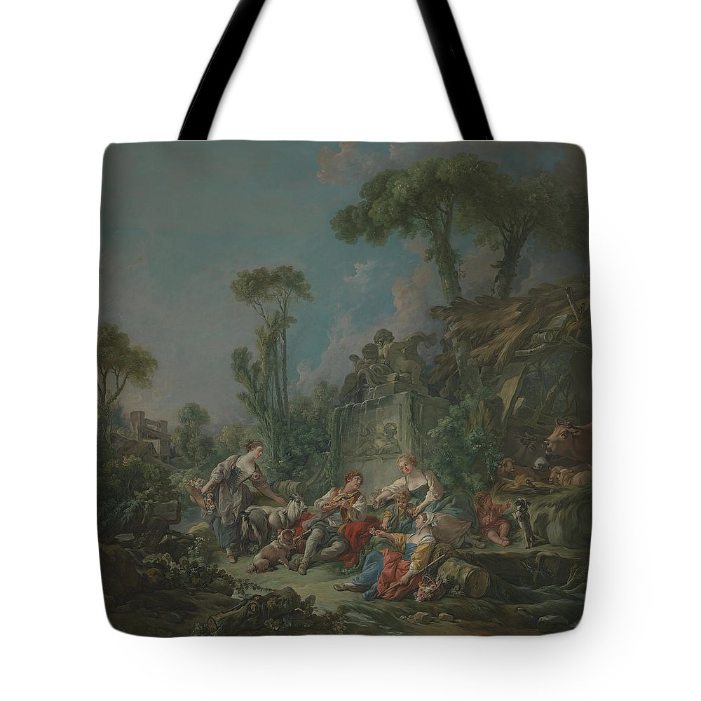 Francois Boucher Tote Bag featuring the painting Shepherd S Idyll by Francois Boucher