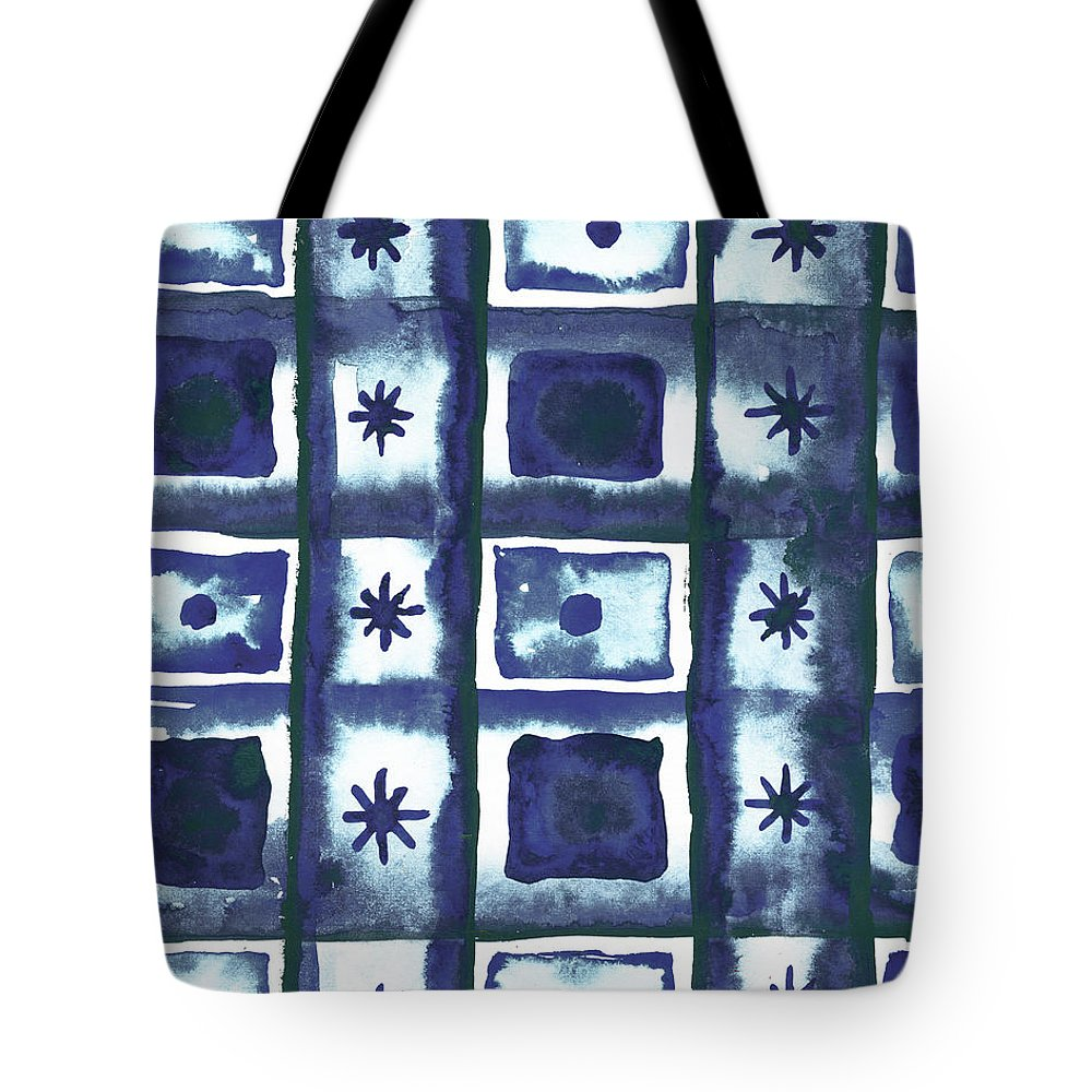Shibori Tote Bag featuring the mixed media Shibori Box Pattern I by Elizabeth Medley