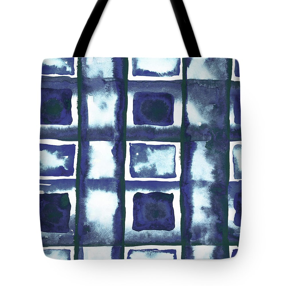 Shibori Tote Bag featuring the mixed media Shibori Box Pattern II by Elizabeth Medley