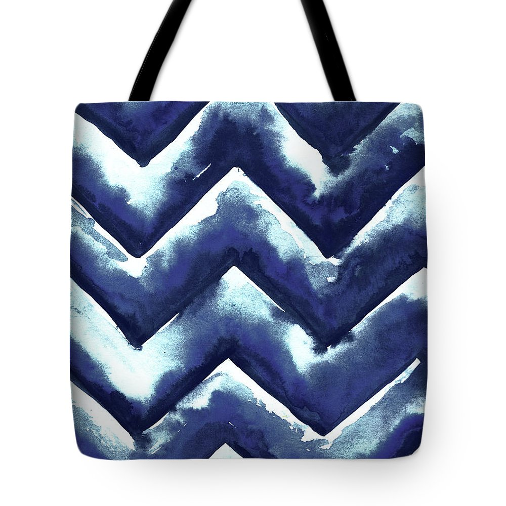 Shibori Tote Bag featuring the mixed media Shibori Zig Zag by Elizabeth Medley